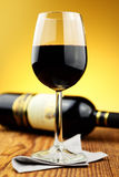 Glass and bottle of fine italian red wine Royalty Free Stock Photos