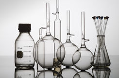 Glass bottle,flasks and beakers Stock Photos