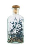 Glass bottle full of herbs Royalty Free Stock Photo