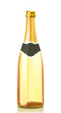 Glass bottle with gold Champagne wine Royalty Free Stock Photography