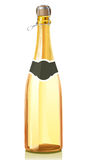 Glass bottle with gold Champagne wine Stock Images