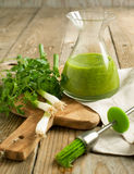 Glass bottle of green olive oil and green onion with parsley Stock Photos
