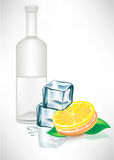 Glass bottle with ice cubes and lemon Stock Photo