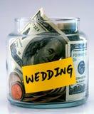 """Glass bottle labeled """"Wedding"""" stock image"""