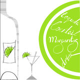 Glass with bottle and lime. Universal template for greeting card, web page, background Royalty Free Stock Images