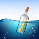 Glass bottle with message, floats in the water. Stock  ill Royalty Free Stock Image