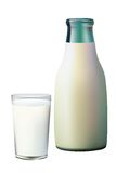 A glass and a bottle of milk. Stock Photo