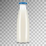Glass Bottle of Milk isolated on transparent. Background. Illustration, Vector Stock Photos