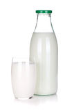 Glass and bottle of milk Stock Photo
