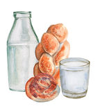 Glass and a bottle of milk and rolls. Insulated. Watercolor illustration. Sketch. Stock Photography