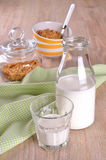 Glass and bottle of milk Stock Photos