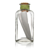 Glass bottle with note. Inside  on white Royalty Free Stock Image