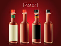 Glass bottle objects. Blank sauce bottles, dark red background, 3d illustration Stock Photography