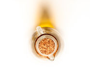 Glass bottle of oil with cork Stock Photos