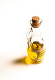 Glass bottle of oil with cork Stock Photography
