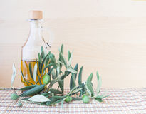 Glass bottle of olive oil. Stock Photo