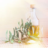 Glass bottle of olive oil. Stock Photos