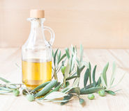 Glass bottle of olive oil. Royalty Free Stock Photos