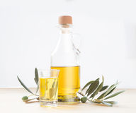 Glass bottle of olive oil. Royalty Free Stock Photo