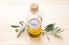 Glass bottle of olive oil. Royalty Free Stock Image