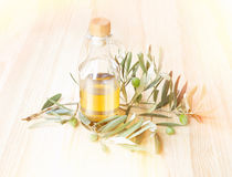 Glass bottle of olive oil. Royalty Free Stock Photography