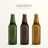 Glass bottle package design. 3D illustration drink bottle template collection in green and brown, objects  on transparent background Royalty Free Stock Photography