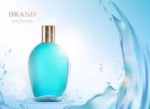 Glass bottle with a perfume. Royalty Free Stock Image