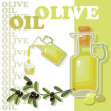 Glass bottle of premium virgin olive oil. Royalty Free Stock Photography