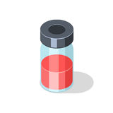 Glass bottle with red liquid vaccine medicament royalty free illustration