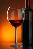 Glass and bottle of red wine Royalty Free Stock Photo