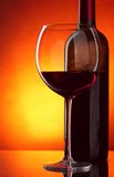 Glass and bottle of red wine Royalty Free Stock Photography