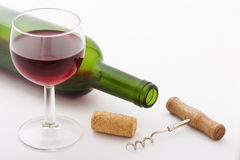 Glass and bottle of red wine. Top view unusually Stock Images