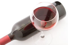 Glass and bottle of red wine. Top view unusually Stock Image