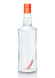 Glass bottle with Russian vodka. Vector illustration of a glass bottle with Russian vodka and red pepper  (serie of images Royalty Free Stock Photography