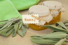 Glass  bottle of sage honey Royalty Free Stock Photo