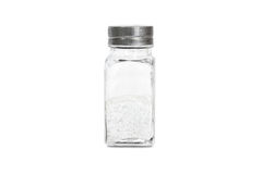 A glass bottle with salt Royalty Free Stock Images