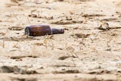 Glass bottle in the sand. In the park in nature Royalty Free Stock Image