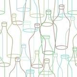 Glass bottle seamless pattern. empty transparent Bottles backgro Stock Images