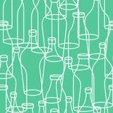 Glass bottle seamless pattern. empty transparent Bottles Royalty Free Stock Image