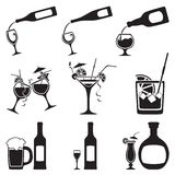 Glass and bottle set. Vector illustration Royalty Free Stock Photos