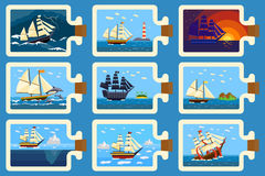 Glass bottle with ship inside miniature boat sea travel model vector illustration. Stock Photos