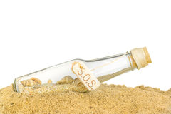 A glass bottle with SOS in sand. On a white background Royalty Free Stock Image