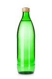 Glass bottle of sparkling water. Isolated on white background Stock Photo