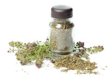 Bottle with thyme Stock Photos