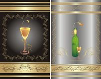 Glass and bottle. Two decorative backgrounds Royalty Free Stock Images