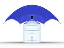 Glass bottle under a umbrella Royalty Free Stock Photos
