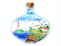 Glass bottle with a village inside. Postcard with sea,town,faro,house,sky,star,fish and floral.Watercolor hand drawn illustration.White background Royalty Free Stock Images