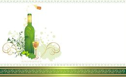 Glass, bottle and vine. Composition for card Stock Images