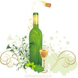 Glass, bottle and vine. Holiday composition Royalty Free Stock Photography