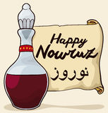 Glass Bottle with Vinegar and Scroll for Haft-Seen in Nowruz, Vector Illustration Royalty Free Stock Photo